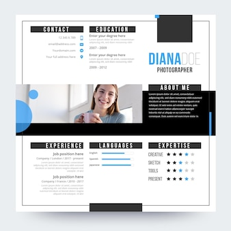 Online cv design with photo