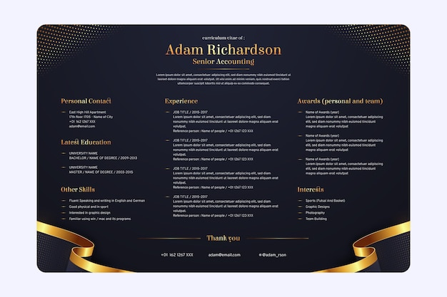Online cv template for investment
