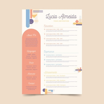 Online cv template in memphis style