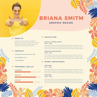 Online cv template with leaves and woman