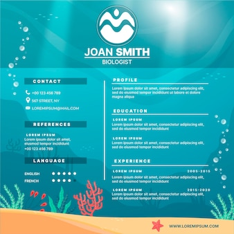Online cv template with oceans elements