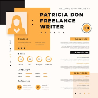 Online cv template with photo and minimalist elements