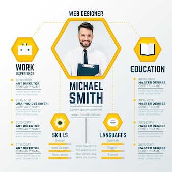Online cv with photo concept