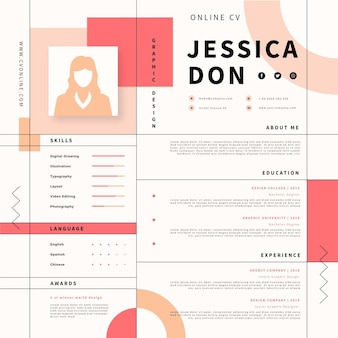 Online cv with photo and minimalist elements