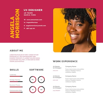Online cv of a young future employer