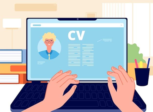 Онлайн-резюме. молодой человек написание заявления о приеме на работу на ноутбуке. концепция hr, поиск работы в интернете. начало карьеры, руки, работающие на компьютерной векторной иллюстрации. интернет онлайн, кадровик, напишите резюме