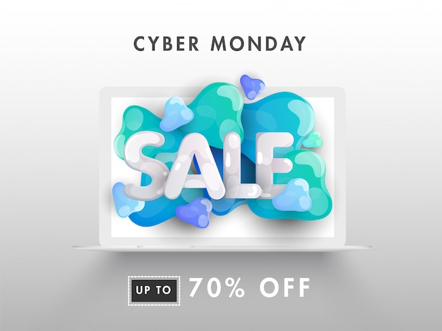 Online cyber monday sale banner from laptop with 70% discount offer.