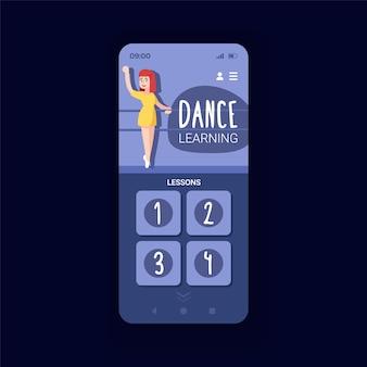 온라인 댄스 수업 스마트폰 인터페이스 벡터 템플릿입니다. 모바일 앱 페이지 디자인 레이아웃입니다. 온라인 피트니스 수업. 다양한 댄스 루틴 튜토리얼 화면. 응용 프로그램에 대한 평면 ui. 전화 디스플레이