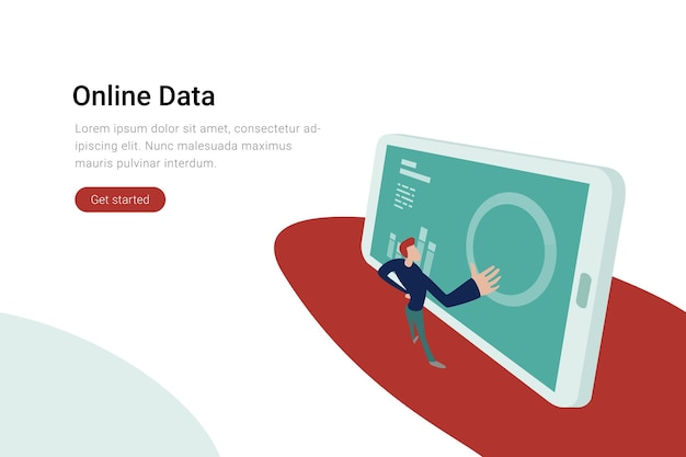 Online data analytics and statistics concept businessman touches screen with diagram graph