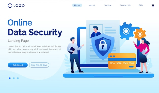 Online data security landing page website flat illustration vector template