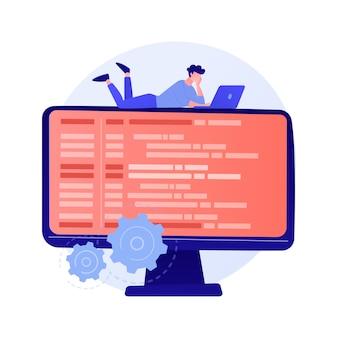 オンラインデータベース、クラウドディスク。データストレージ、情報ベース、コンピュータアプリケーション。 pcユーザー、オペレーターの漫画のキャラクター。モニター画面の情報。