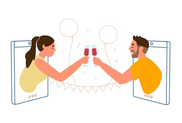 온라인 날짜 또는 파티 개념 평면 그림.