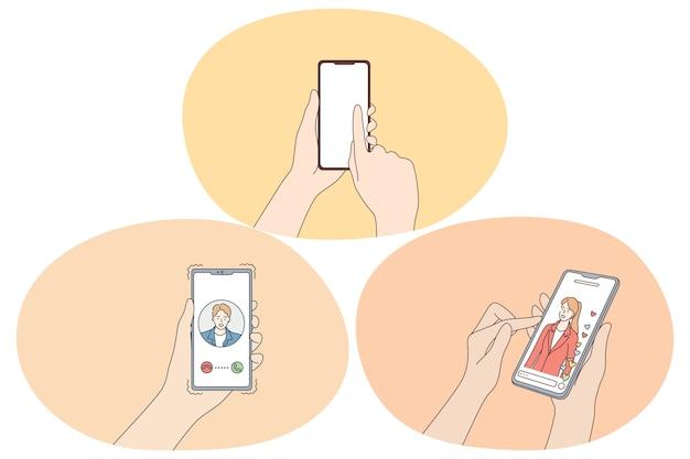 Интернет-знакомства и приложение для чата и концепции общения.