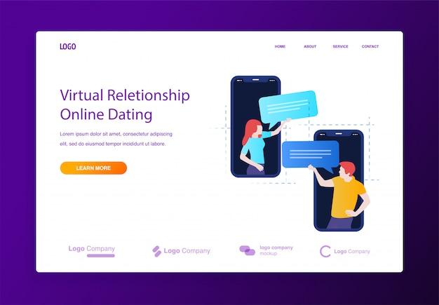 Онлайн знакомства и общение на мобильной концепции иллюстрации для веб-сайта или целевой страницы