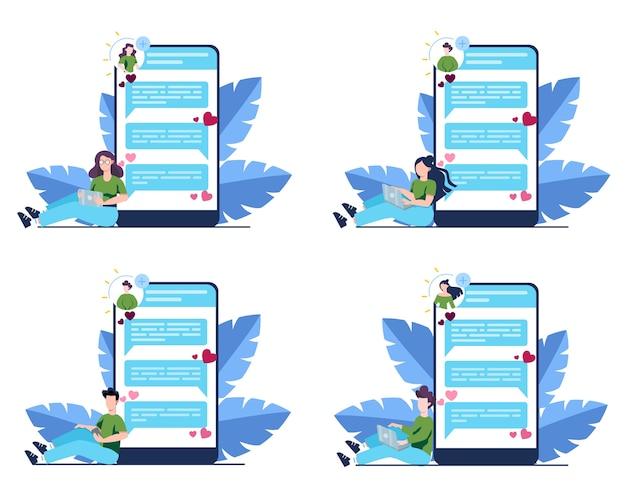 온라인 데이트 및 커뮤니케이션 앱 개념. 가상 관계와 우정. 스마트 폰의 네트워크를 통한 사람들 간의 커뮤니케이션. 세트