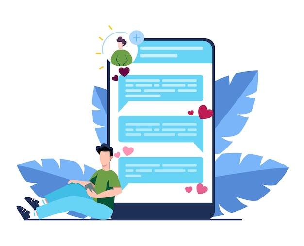온라인 데이트 및 커뮤니케이션 앱 개념. 가상 관계