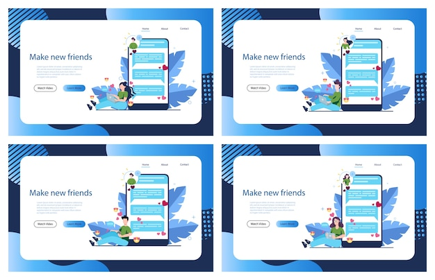 온라인 데이트 및 커뮤니케이션 앱. 가상 관계와 우정. 스마트 폰의 네트워크를 통한 사람들 간의 커뮤니케이션. 삽화