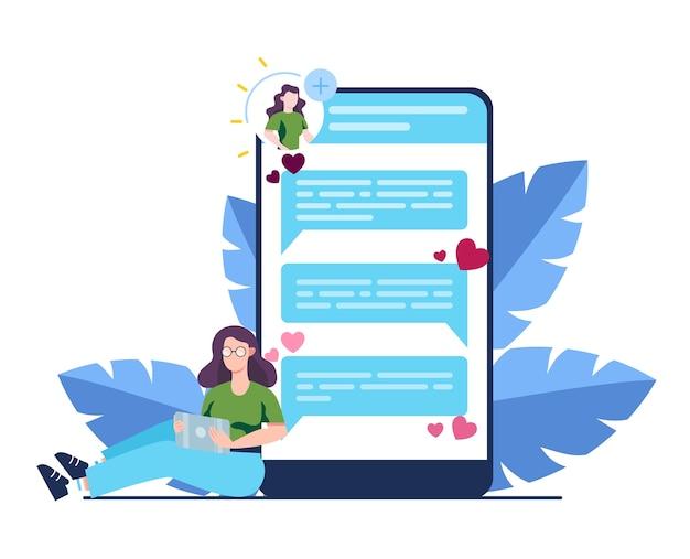 온라인 데이트 및 커뮤니케이션 앱. 가상 관계와 우정. 스마트 폰의 네트워크를 통한 사람들 간의 커뮤니케이션.