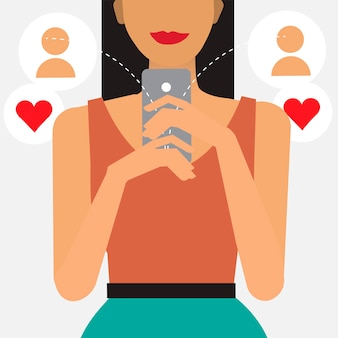 Online dating and messaging illustration