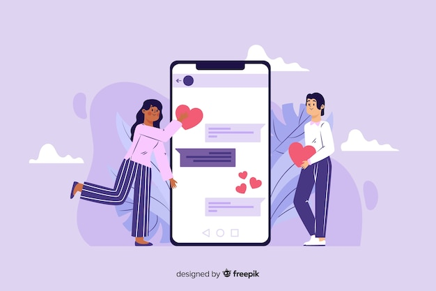Online dating app concept flat design