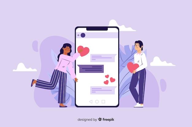 온라인 데이트 앱 개념 평면 디자인