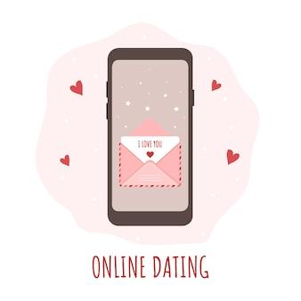 幸せなバレンタインデーのためのオンライン出会い系アプリのコンセプト