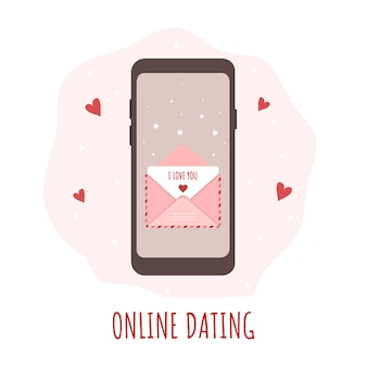 Online dating app concept for happy valentines day