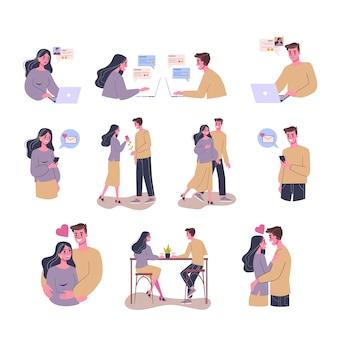オンラインデートアプリのコンセプト。仮想の関係と愛。スマートフォン上のネットワークを介して人と人とのコミュニケーション。完璧なマッチと結婚式。図