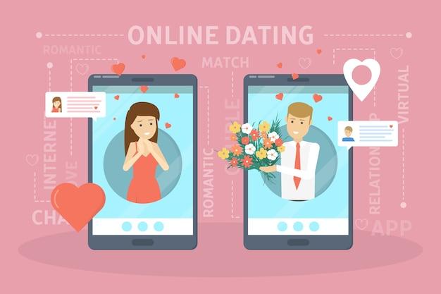 Концепция приложения онлайн-знакомств. виртуальные отношения и любовь. общение между людьми через сеть на смартфоне. идеальное совпадение. иллюстрация