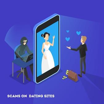 オンラインデートアプリのコンセプト。仮想の関係と愛。スマートフォンのネットワークを介してカップル通信。完璧にマッチ。ウェブサイト上のハッカー、危険にさらされている個人データ。図