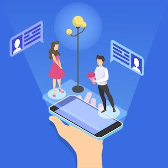 オンラインデートアプリのコンセプト。仮想の関係と愛。スマートフォンのネットワークを介してカップル通信。完璧にマッチ。図