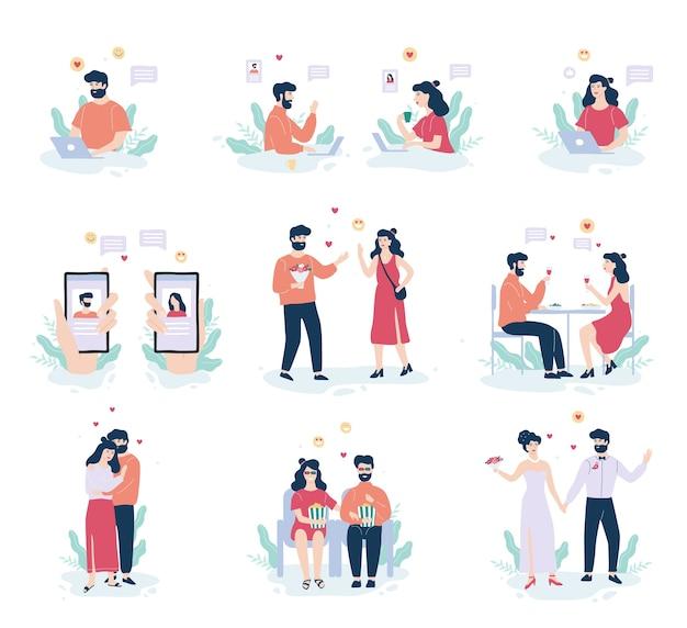 オンラインデートアプリのコンセプト。バーチャルな関係と愛
