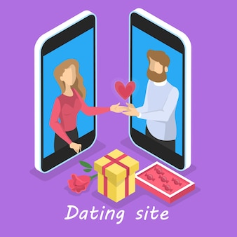 Online dating app concept. virtual relationship and love. couple communication through network on the smartphone. perfect match.   illustration