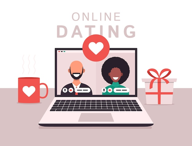 男性と女性とのオンライン出会い系アプリのコンセプト。ノートパソコンの画面にアフリカの女性と白いハゲ男とフラットベクトルイラスト。