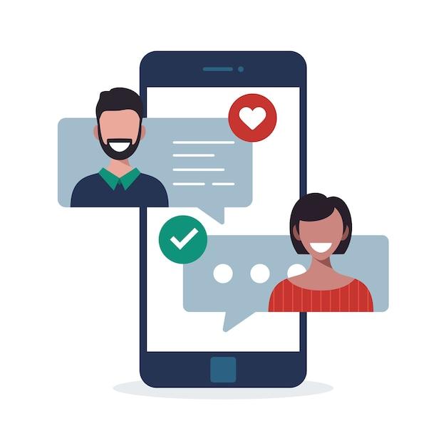 男性と女性とのオンライン出会い系アプリのコンセプト。電話スクリーンでチャットする女性と男性との多文化関係の図。