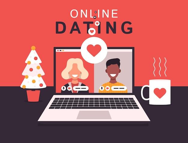 Концепция приложения для онлайн-знакомств с мужчиной и женщиной
