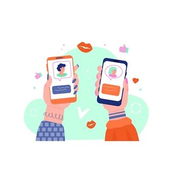 두 개의 전화 화면에 온라인 데이트 앱 인터페이스
