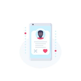 オンラインデートアプリ、スマートフォンの男のプロフィールとベクトルアイコン