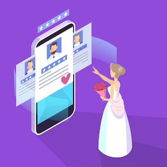 Online dating app. virtual relationship and love.