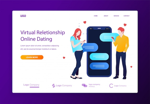 Online dating and chatting on a mobile illustration concept for website or landing page