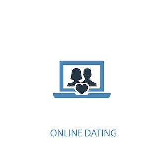 Интернет-знакомства концепция 2 цветной значок. простой синий элемент иллюстрации. дизайн символа концепции онлайн-знакомств. может использоваться для веб- и мобильных ui / ux