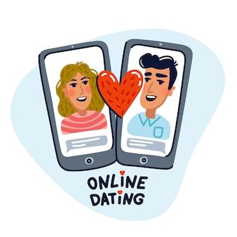 온라인 데이트 개념-전화 화면에 행복 한 커플.