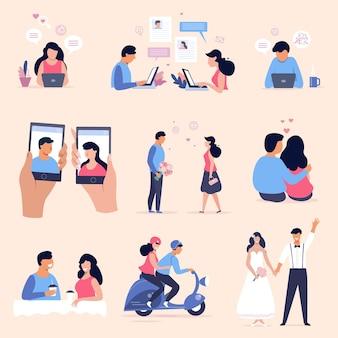 온라인 데이트 개념 그림 세트, 로맨틱 커플 컬렉션, 플랫 만화 캐릭터