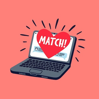 Online dating concept - laptop with online dating application on the screen