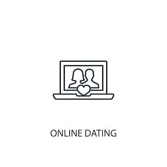 Значок линии концепции онлайн-знакомств. простая иллюстрация элемента. дизайн символа схемы концепции онлайн-знакомств. может использоваться для веб- и мобильных ui / ux
