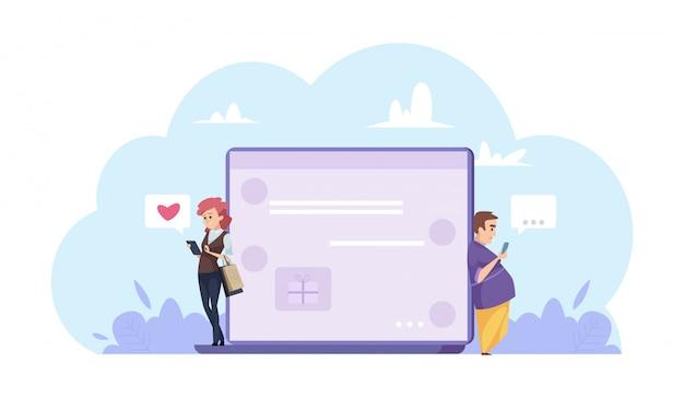 オンラインデートのコンセプト。男と女がオンラインでチャット。漫画のキャラクターの人々、ラップトップ、チャット