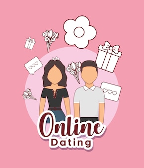 Online dating design with avatar couple and related icons