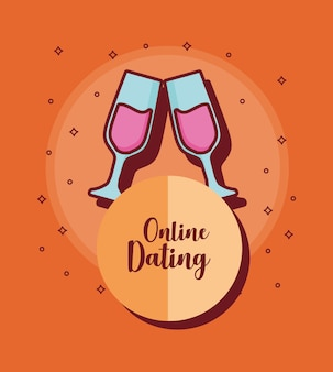 Online dating design with champagne glasses