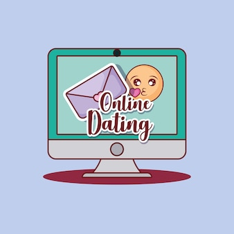Online dating design with computer and envelope and emoji