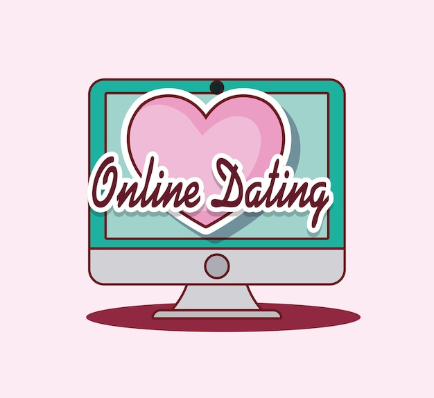 Online dating design with computer and heart